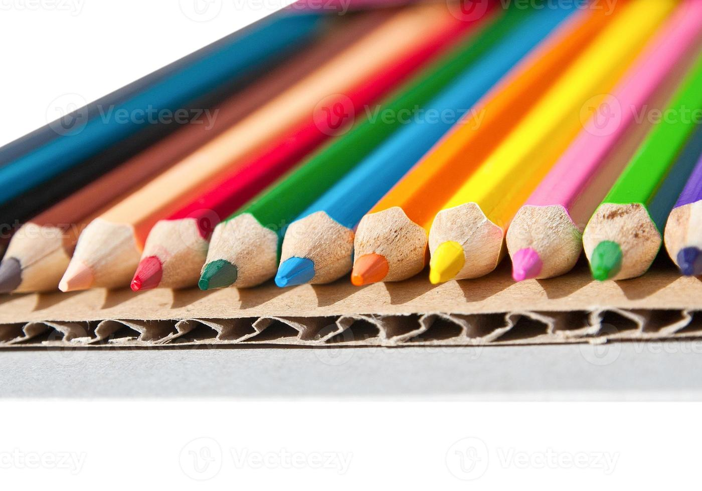 Colorful pencil crayons isolated photo