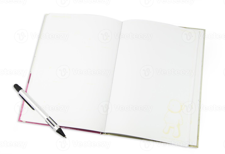 cuaderno blanco aislado sobre fondo blanco foto