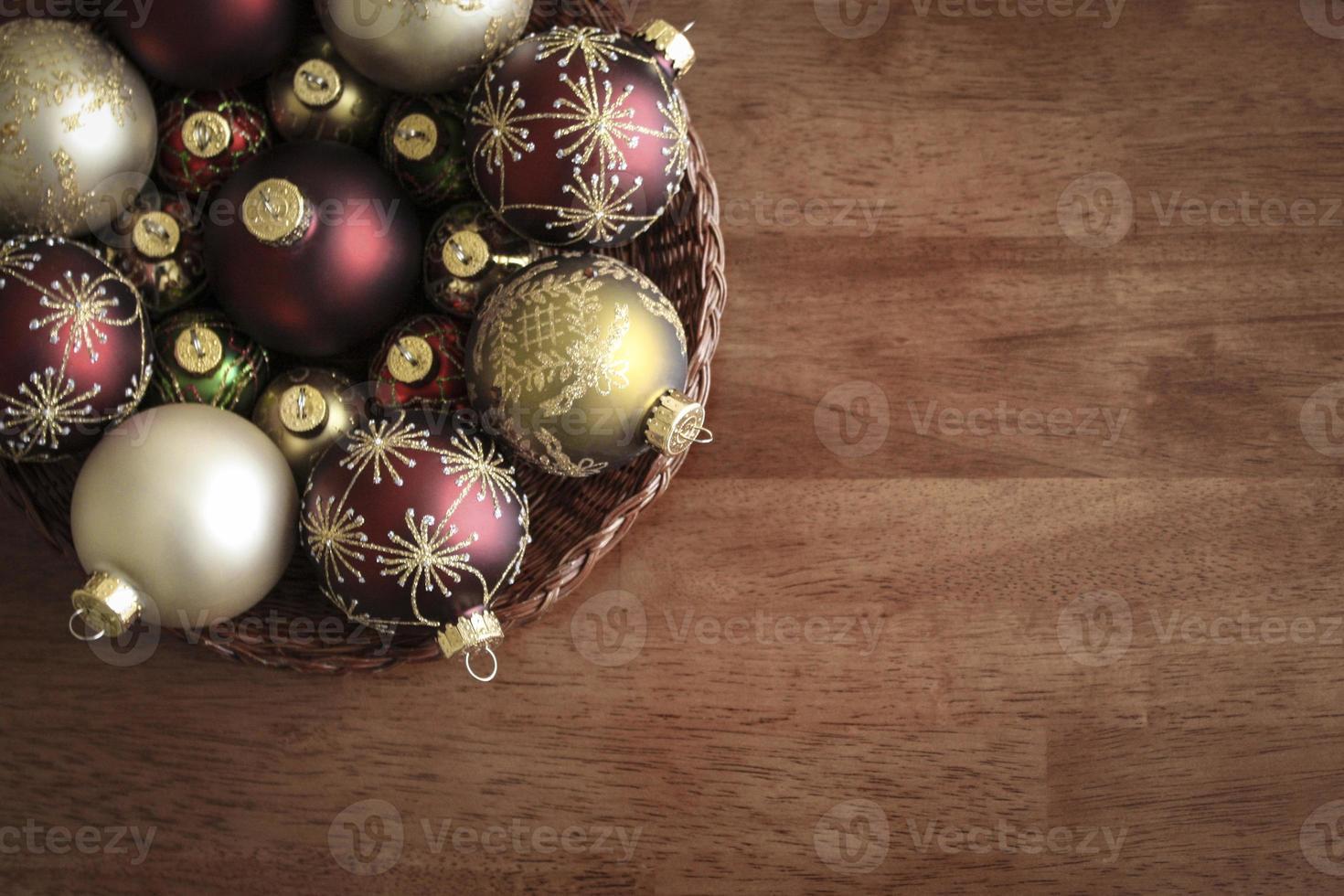 Aerial Christmas Ornaments Table photo