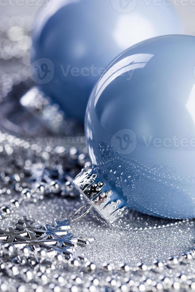 Christmas ball on shiny background photo