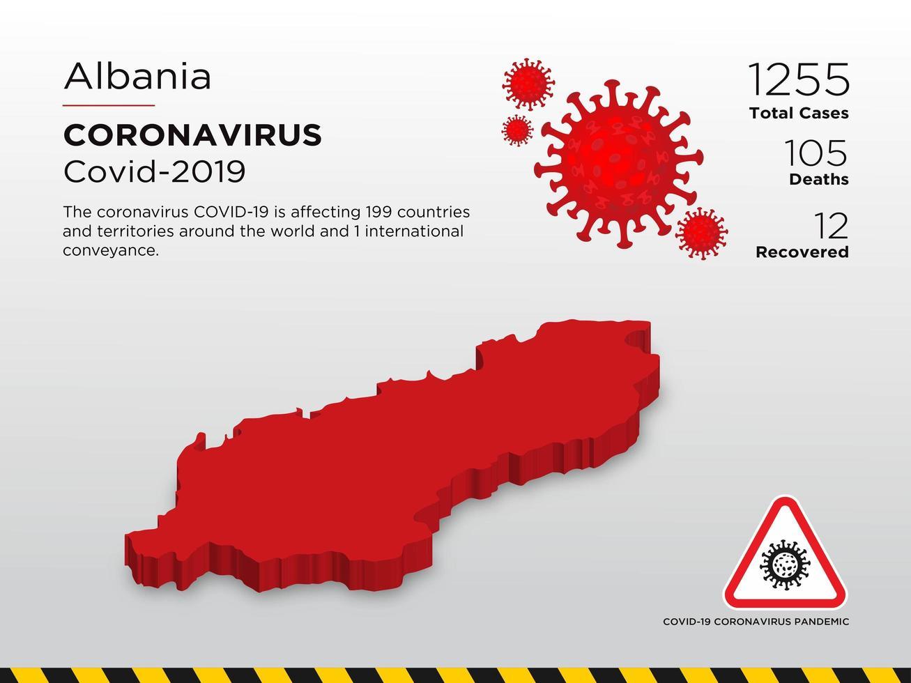 Albania Affected Country Map of Coronavirus Spread  vector