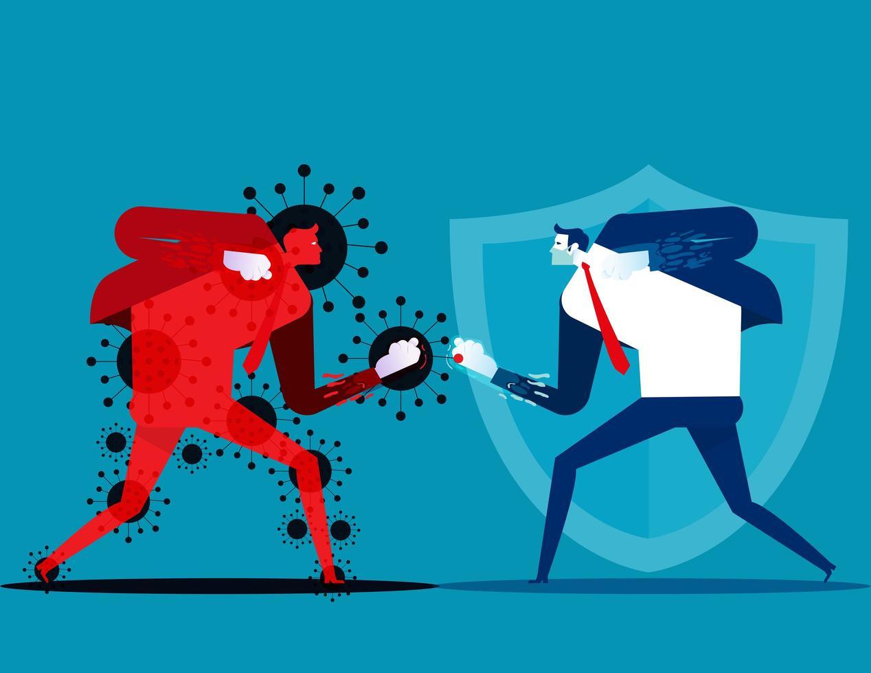 Hombre luchando contra el personaje covid-19 vector