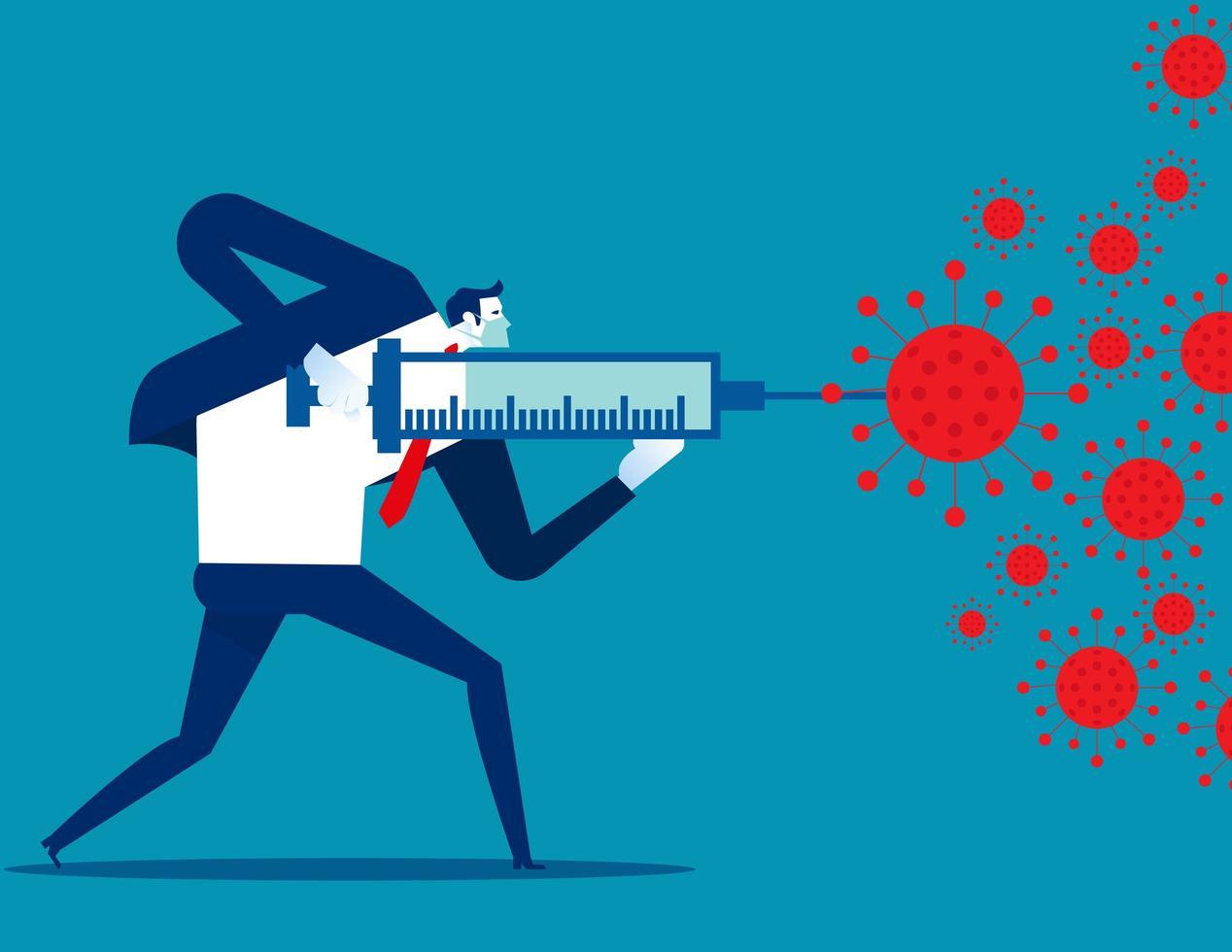hombre luchando contra covid-19 con vacuna vector