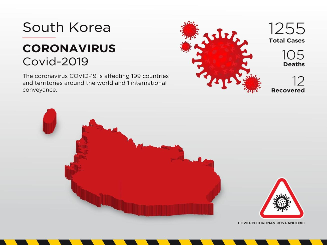 South Koria Affected Country Map of Coronavirus Spread  vector