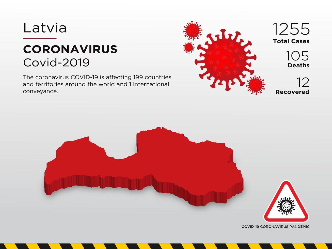 Latvia Affected Country Map of Coronavirus Disease vector