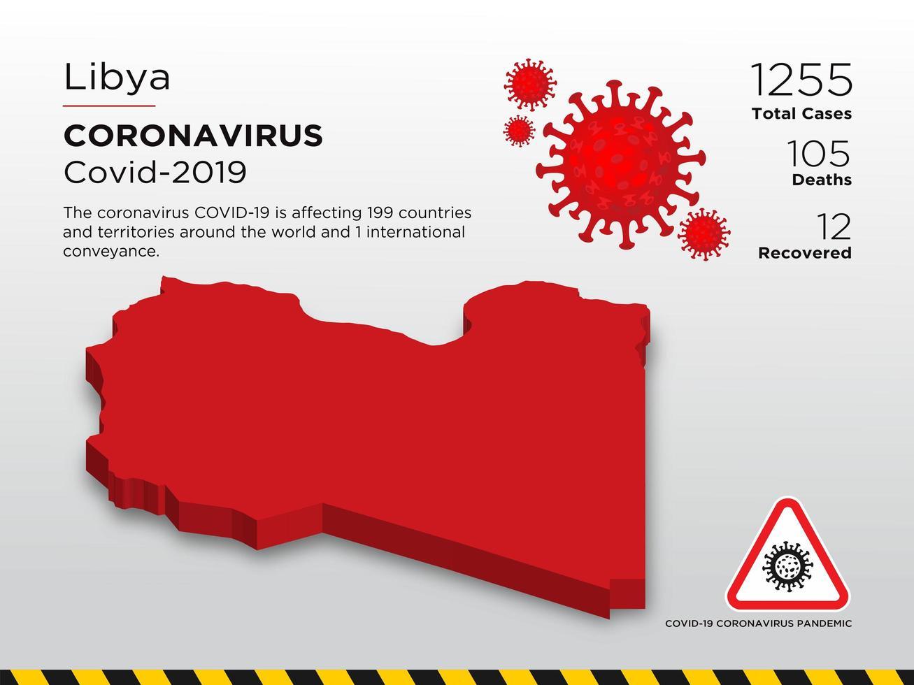Libya Affected Country Map of Coronavirus  vector
