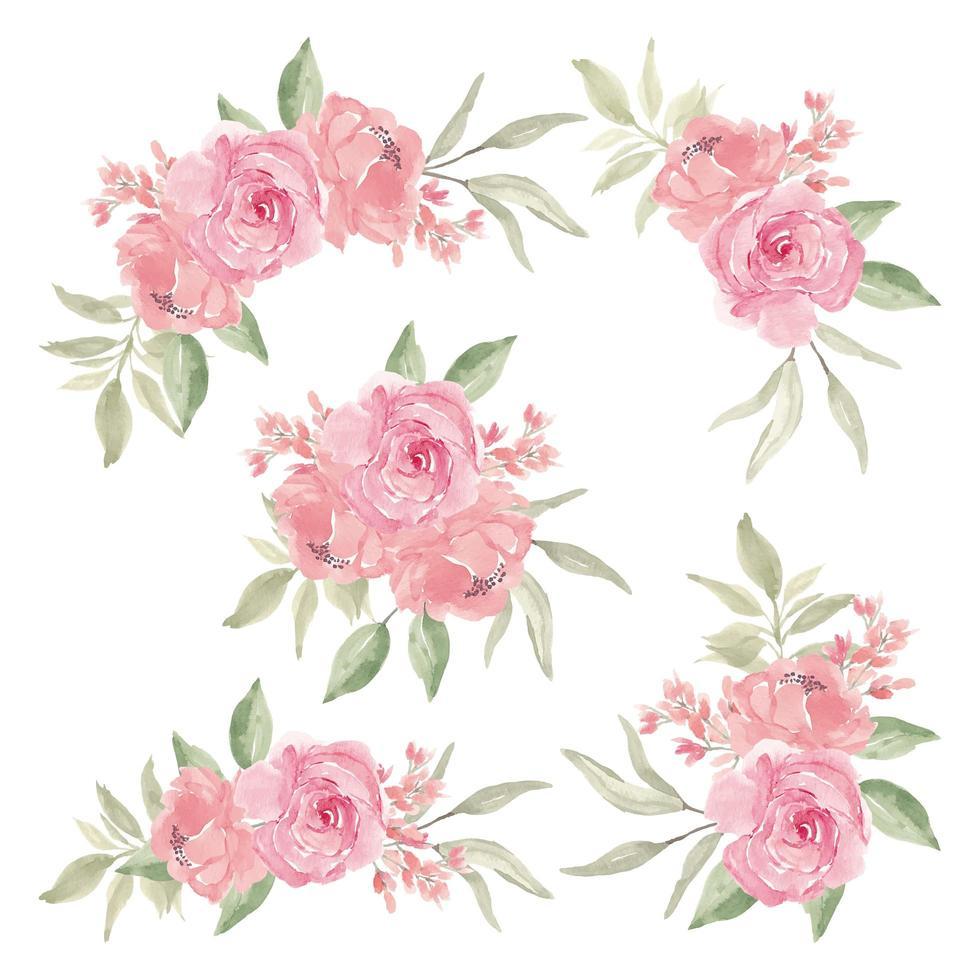 insieme del mazzo del fiore rosa dell'acquerello vettore