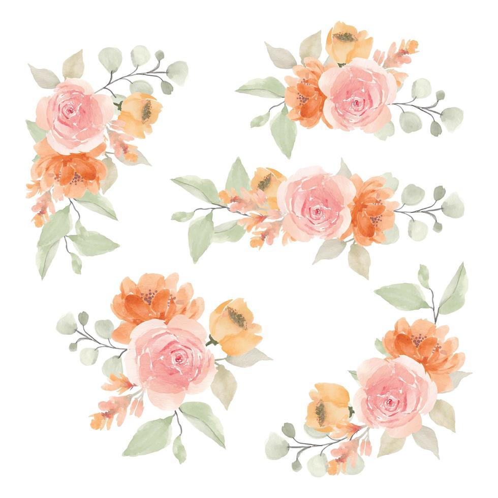 bouquets de fleurs aquarelle orange et rose rose vecteur