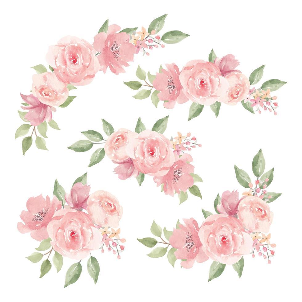 conjunto de ramo de flores rosa acuarela vector