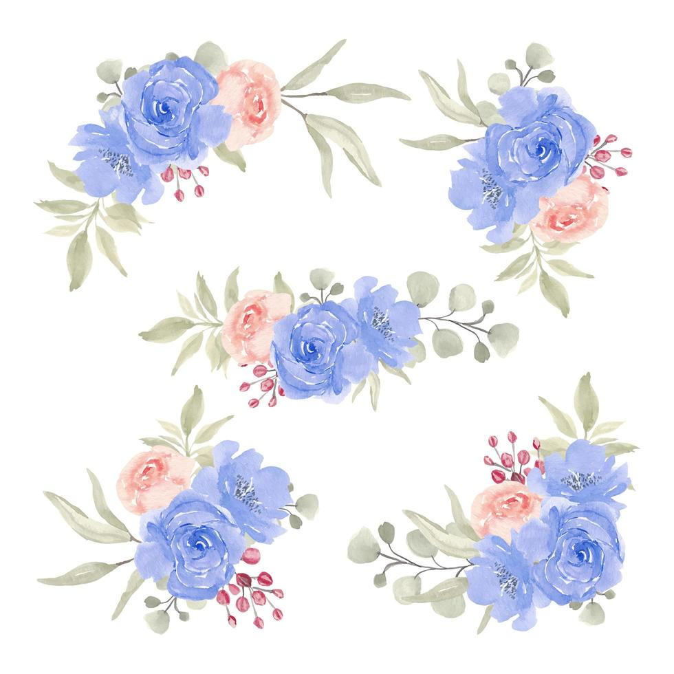 collezione di bouquet floreale blu dell'acquerello vettore