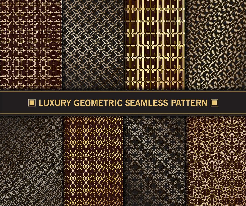conjunto de patrones sin fisuras geométricas doradas de lujo vector