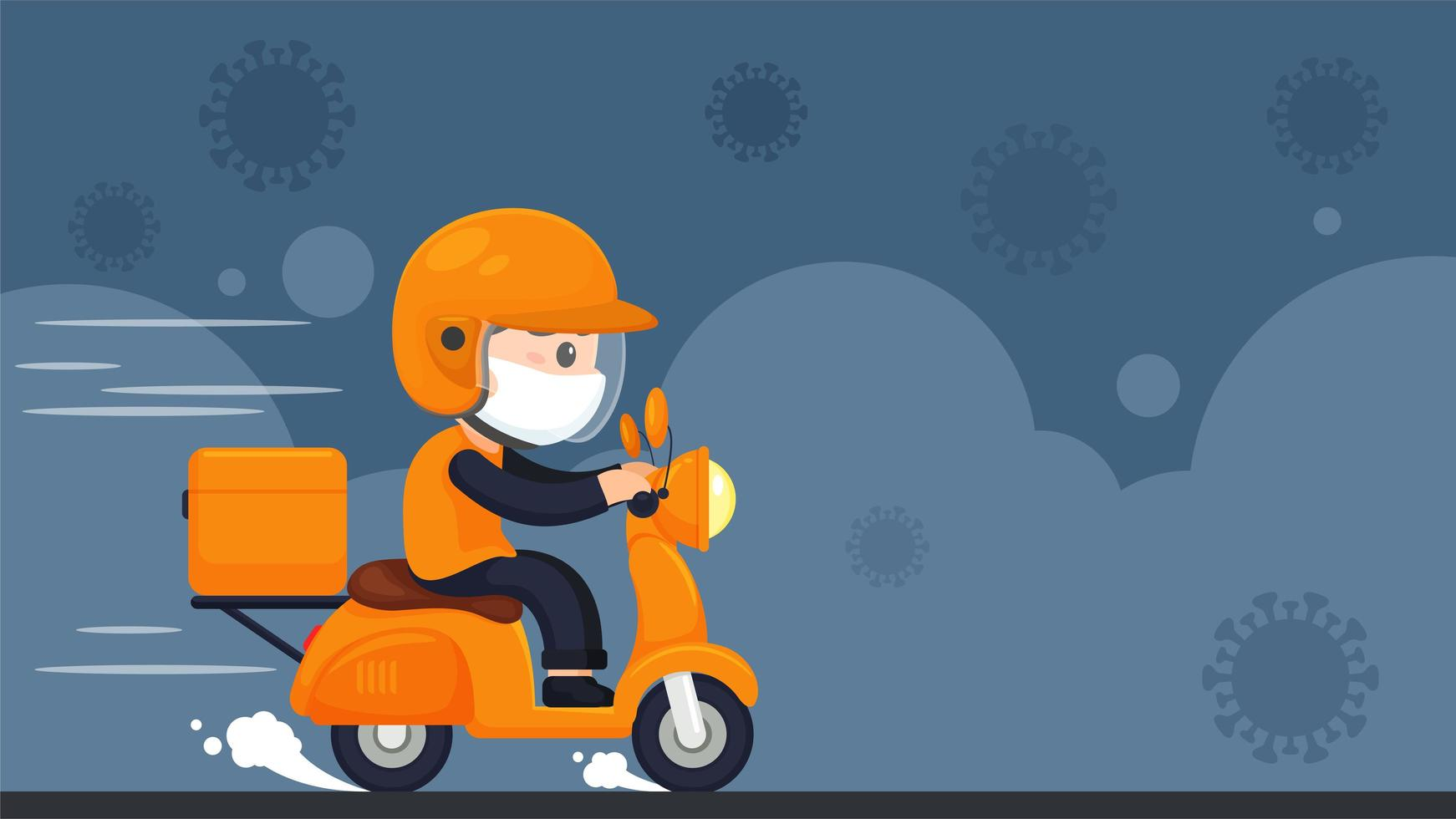 consegna tramite coronavirus in stile cartone animato vettore