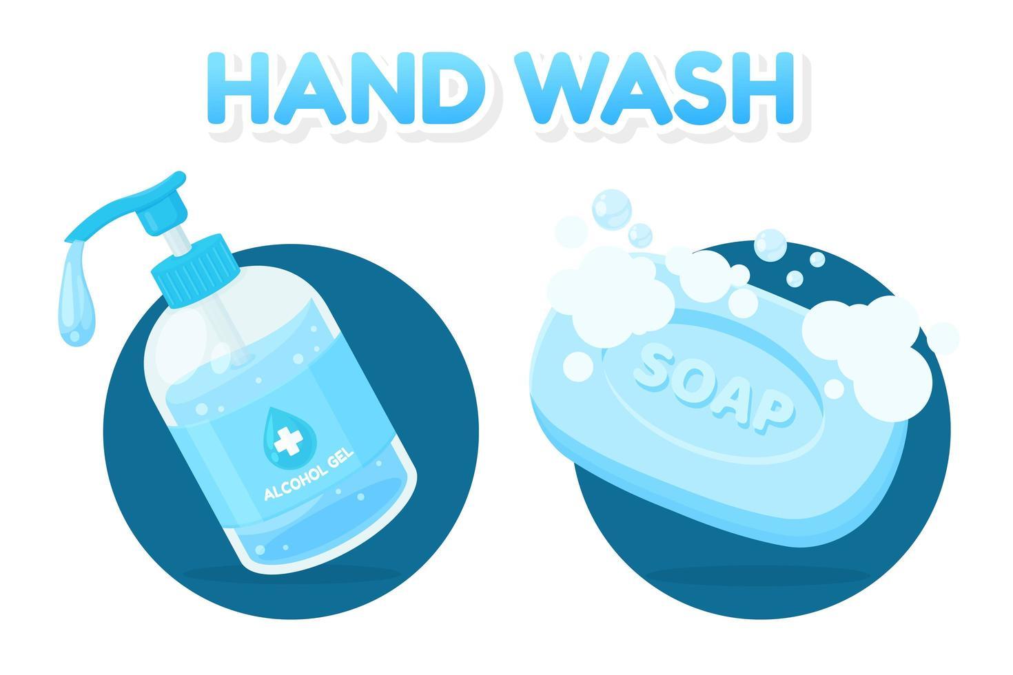 conjunto para lavar as mãos com desinfetante e sabão vetor