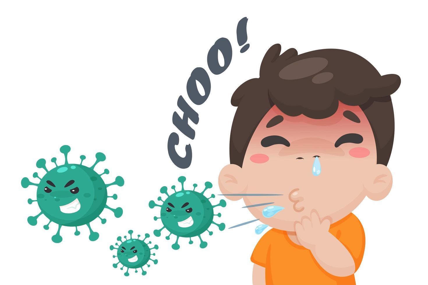 menino espirros em estilo cartoon vetor