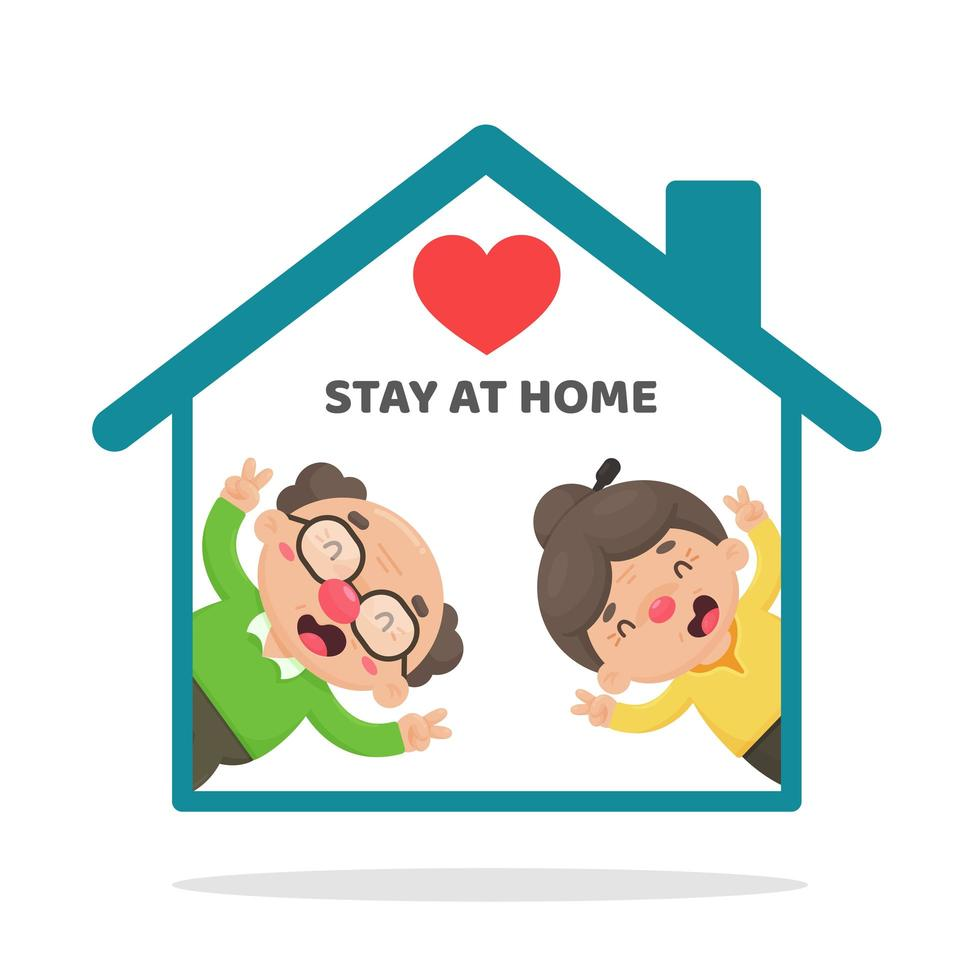Elderly People Staying at Home in Cartoon Style vector