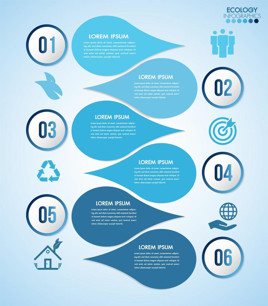 blå vatten design infographic med 6 steg vektor