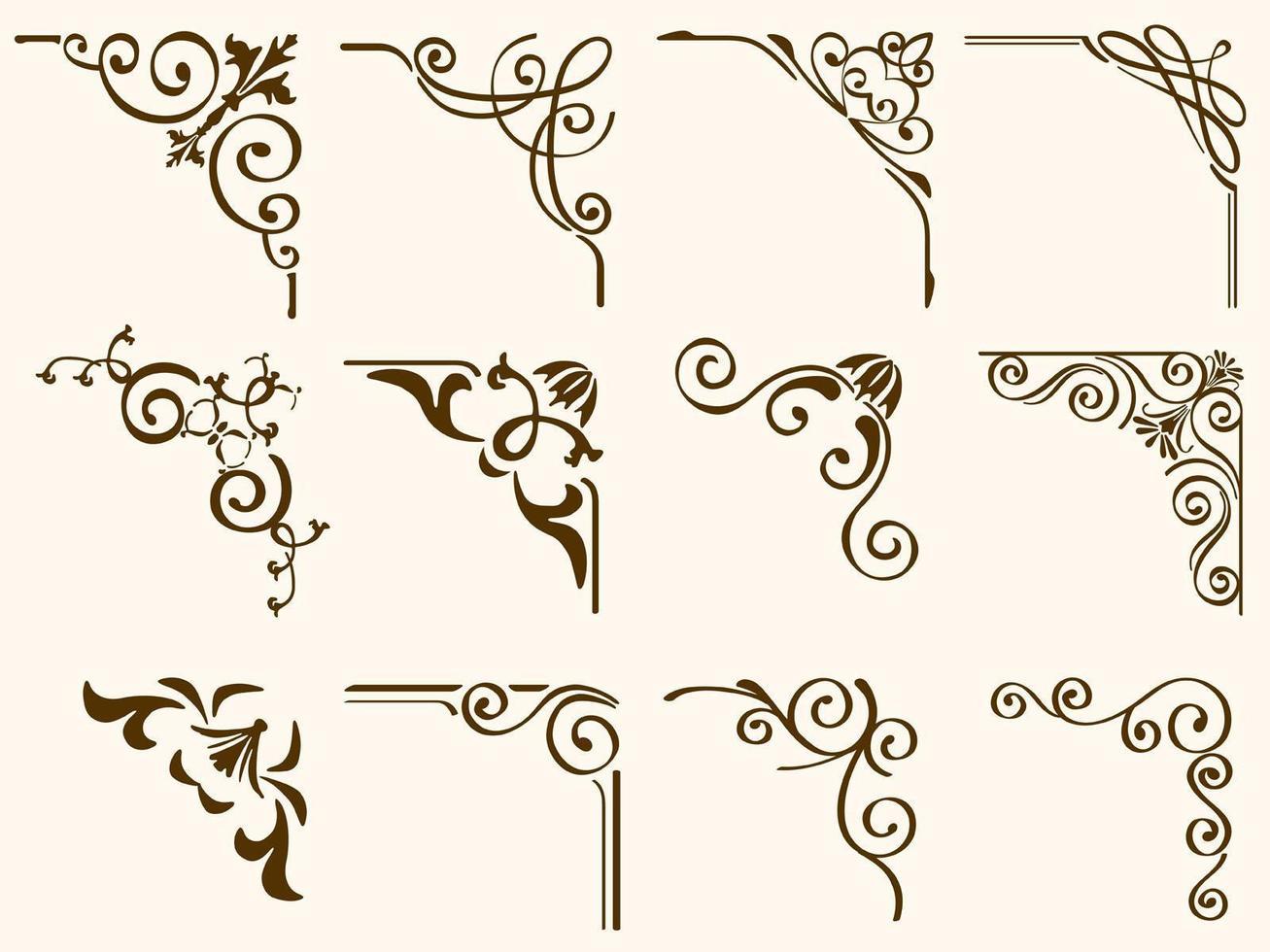 Brown Filigree Vintage Corner Frames Set vector