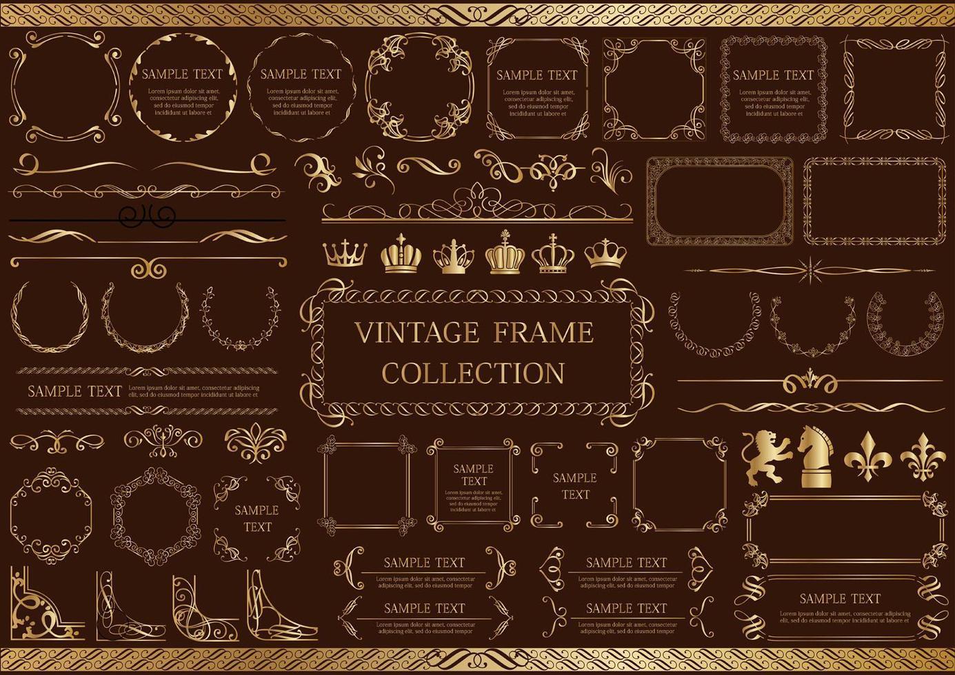 conjunto de elementos y marcos vintage oro vector