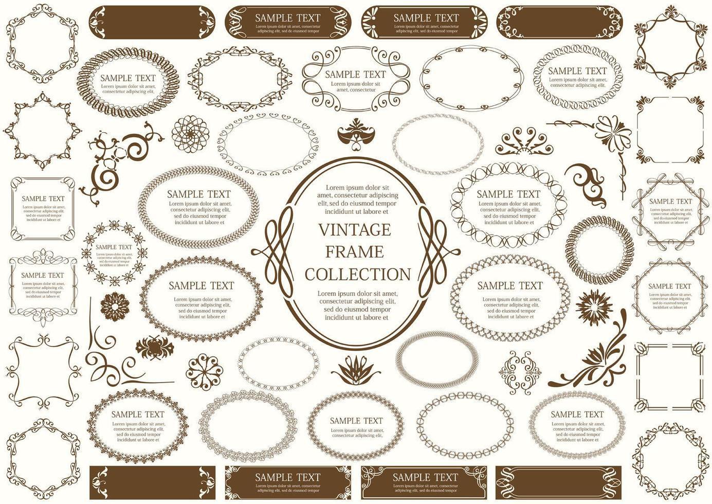 Brown Vintage Sign and Circular Frame Set vector