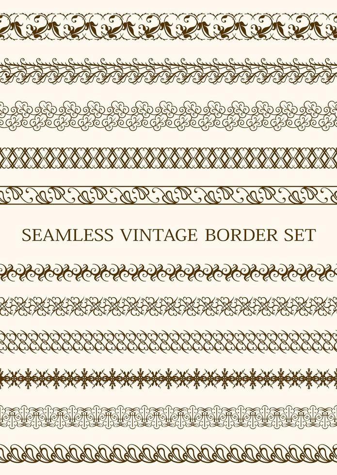 conjunto de borde vintage transparente marrón vector
