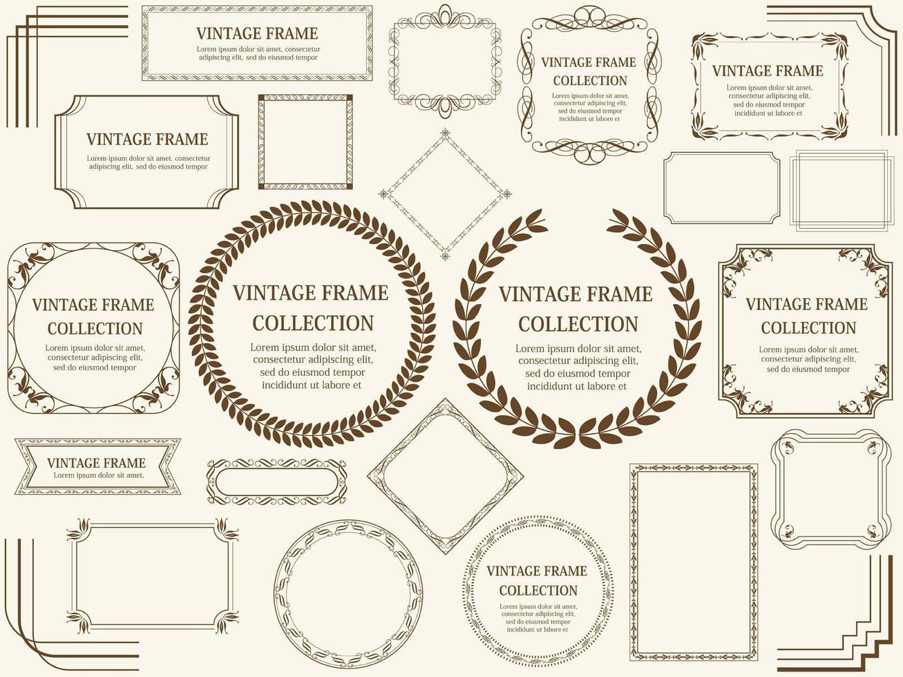 conjunto vintage de corona y marco marrón vector