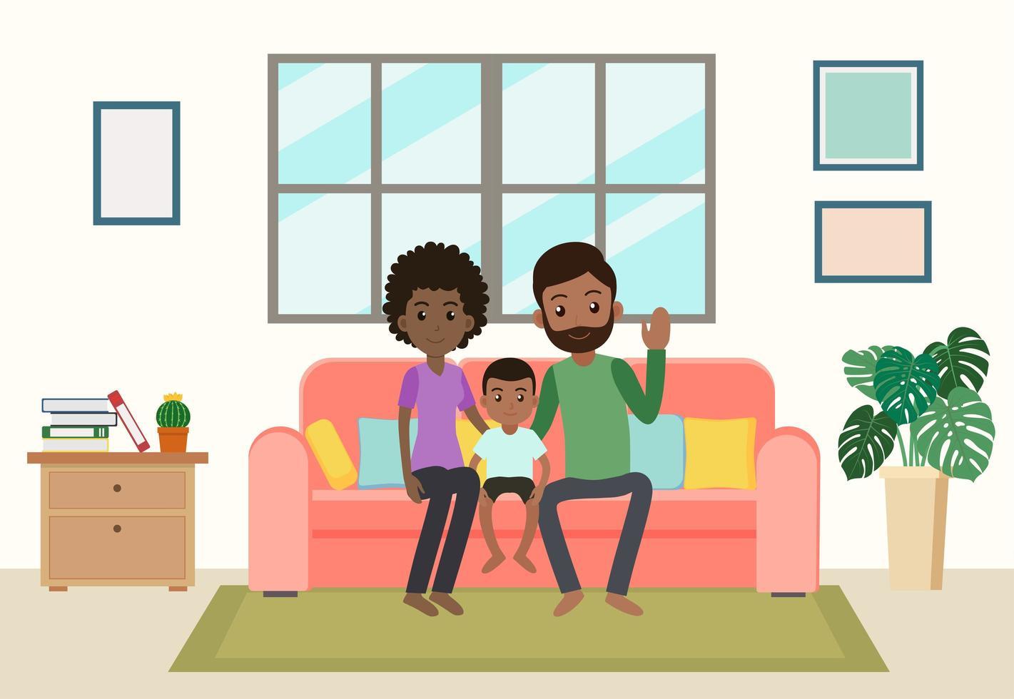 familia afroamericana de dibujos animados en casa vector