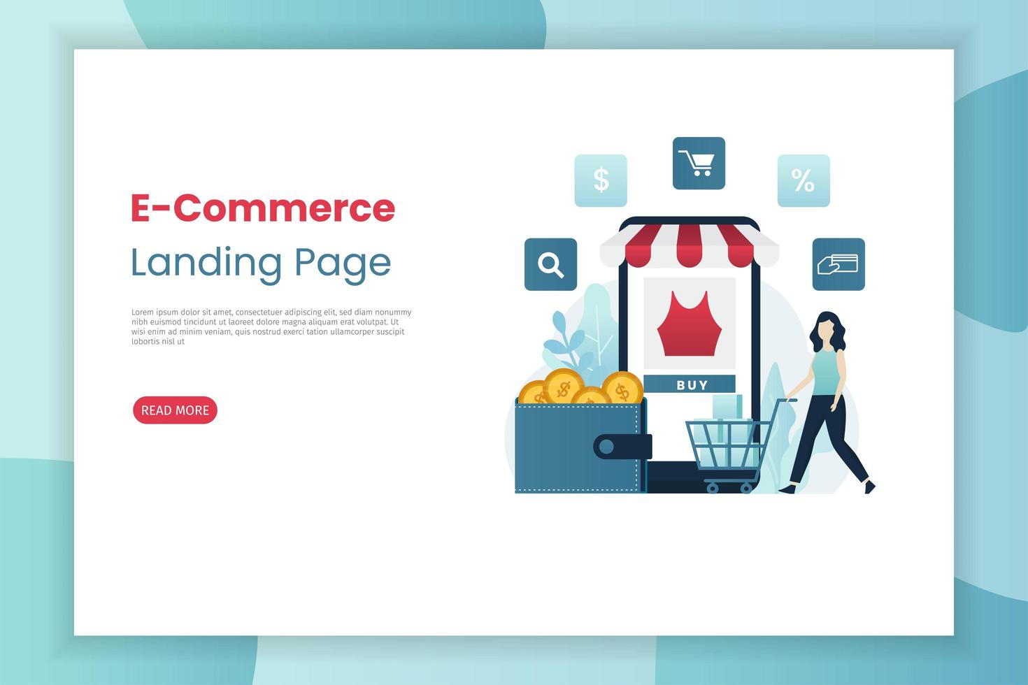 Mobile e-commerce landing page template vector