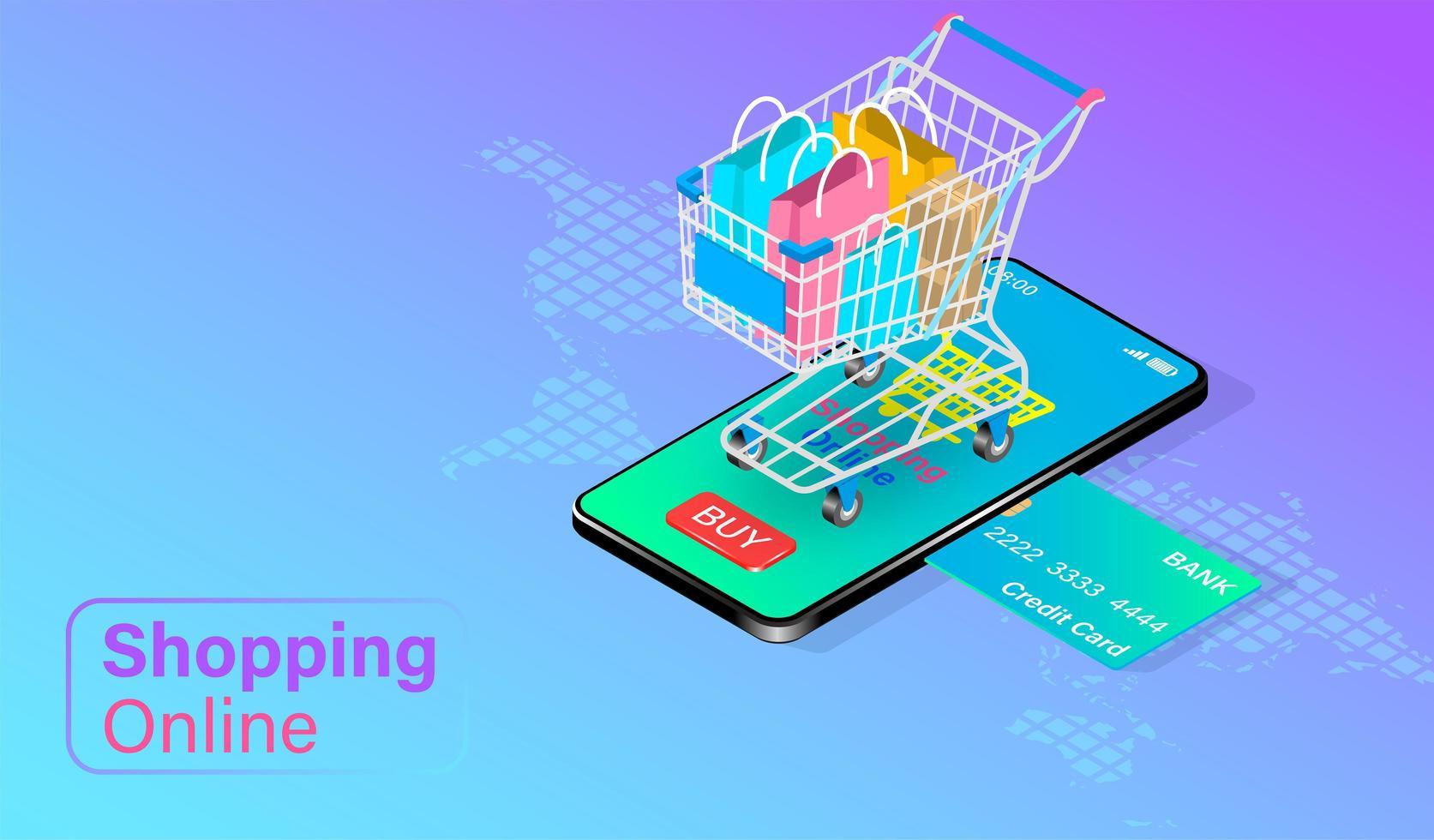 concepto de compras en línea con carrito en el teléfono móvil vector