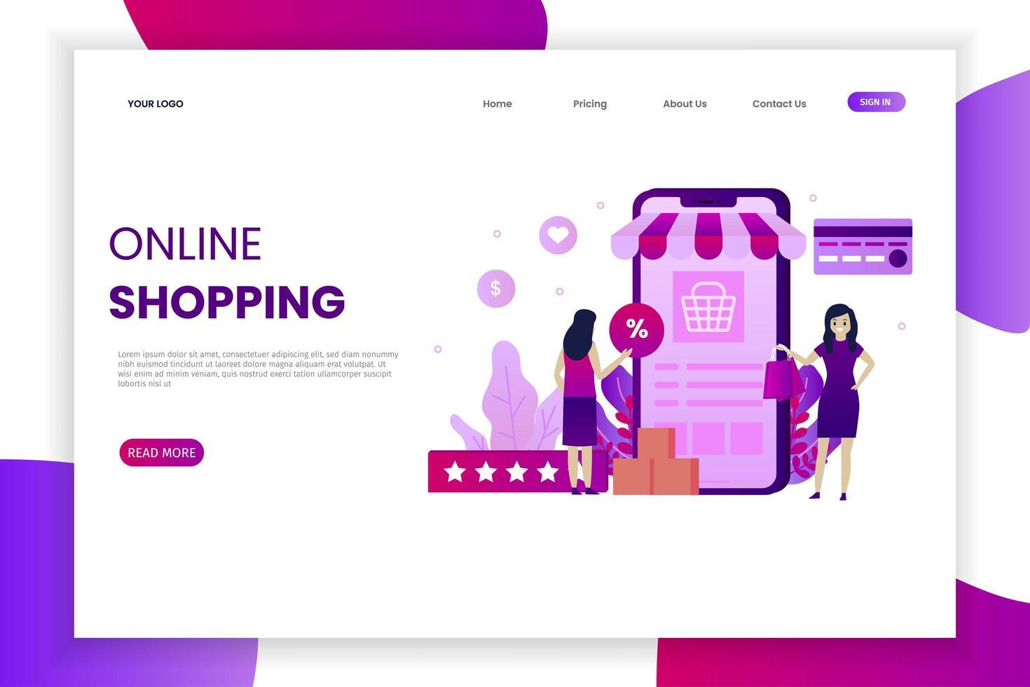 página de inicio de compras en línea móvil rosa y púrpura vector