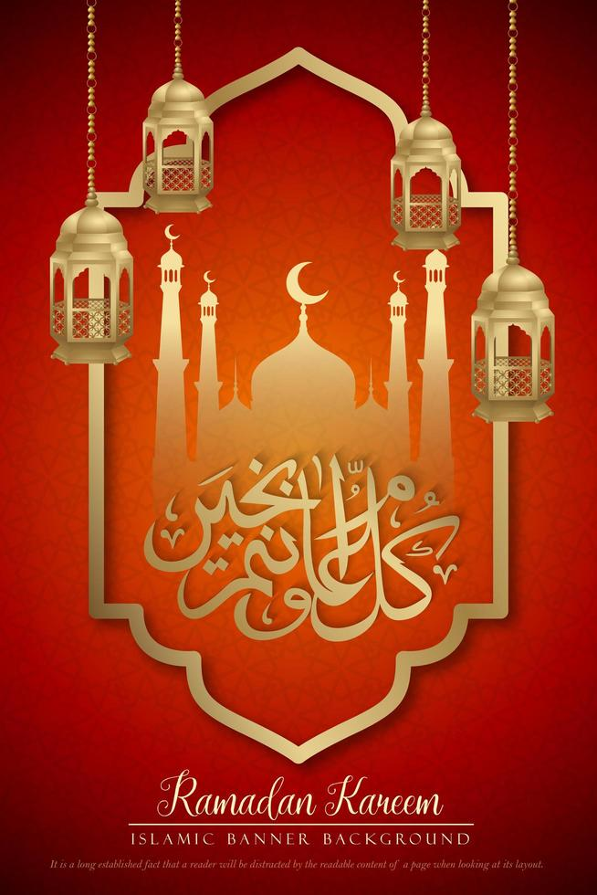 diseño de cartel vertical rojo y dorado de Ramadán Kareem vector