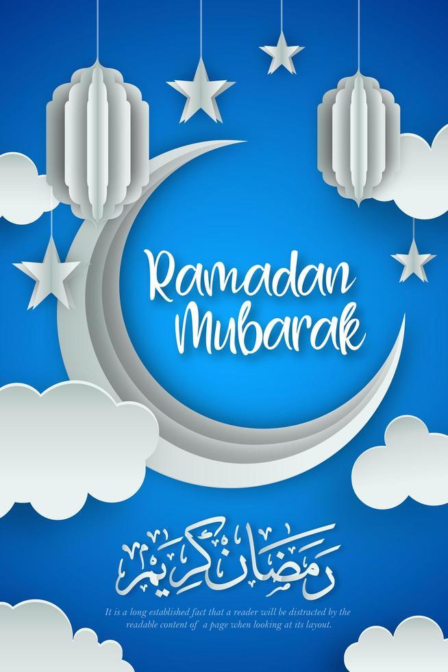 Ramadán Kareem cortar fondo de papel vector
