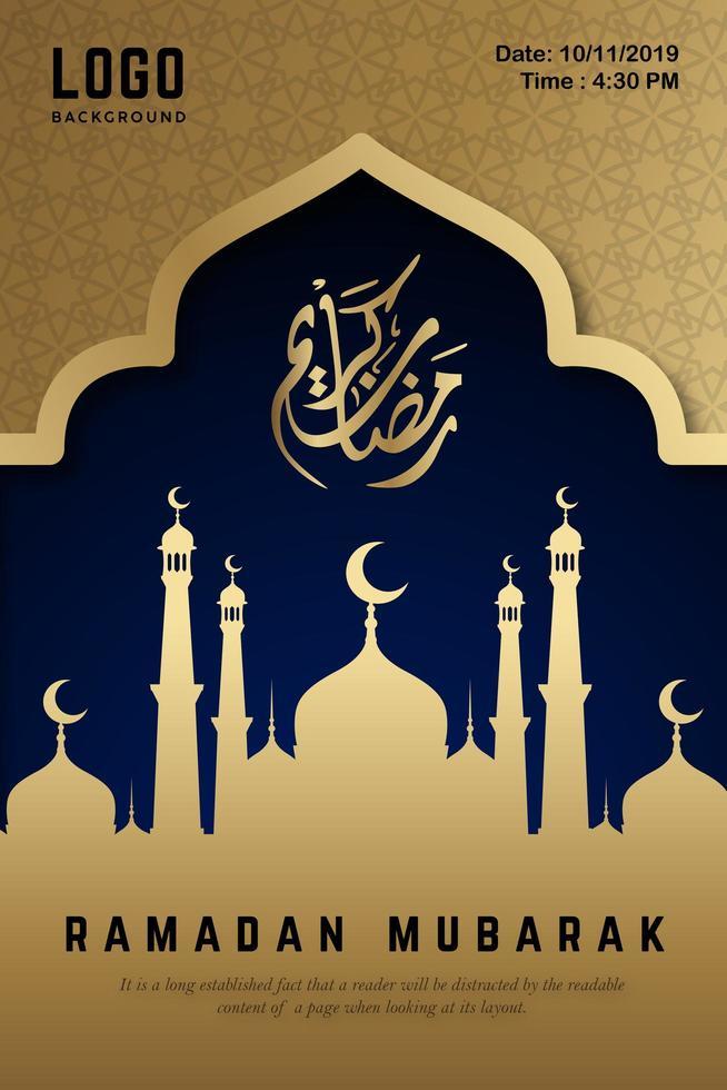 Ramadán Mubarak cartel de noche azul y oro vector
