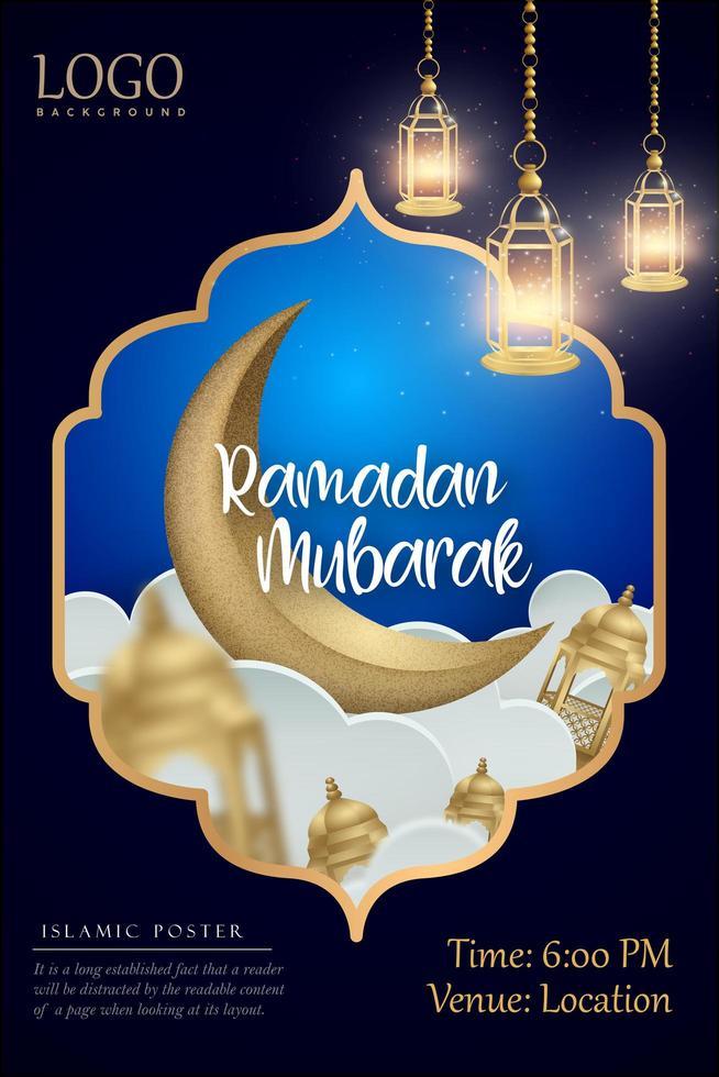 Ramadan Mubarak Blue and Gold Frame Design vector
