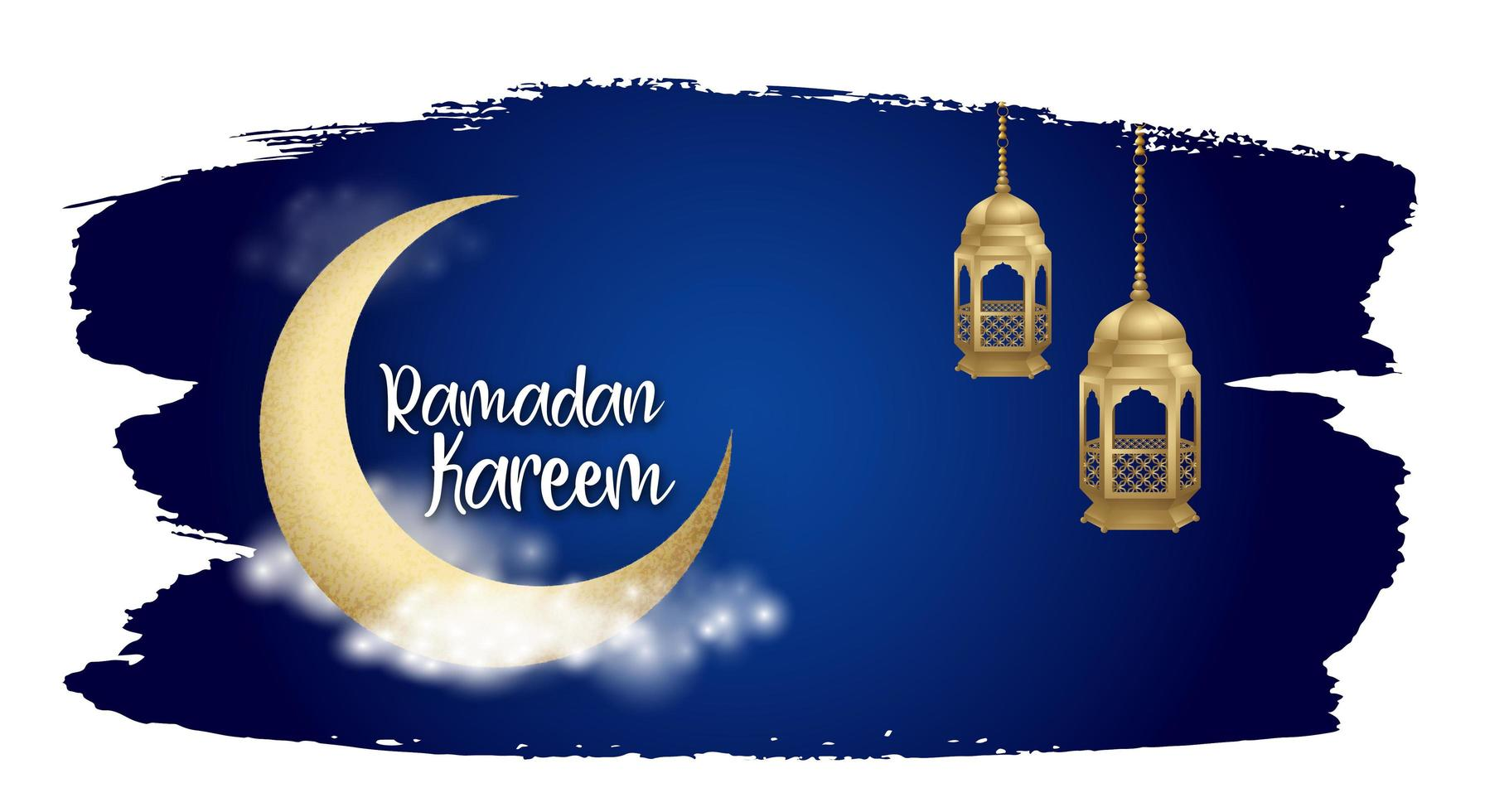 Fondo de trazo de pincel de cielo nocturno de Ramadán Kareem vector