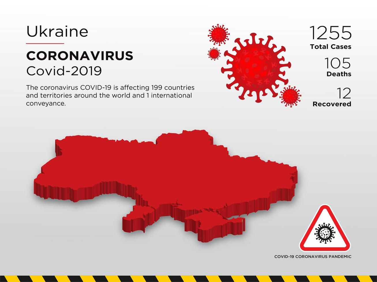 Ukraine Affected Country Map of Coronavirus vector