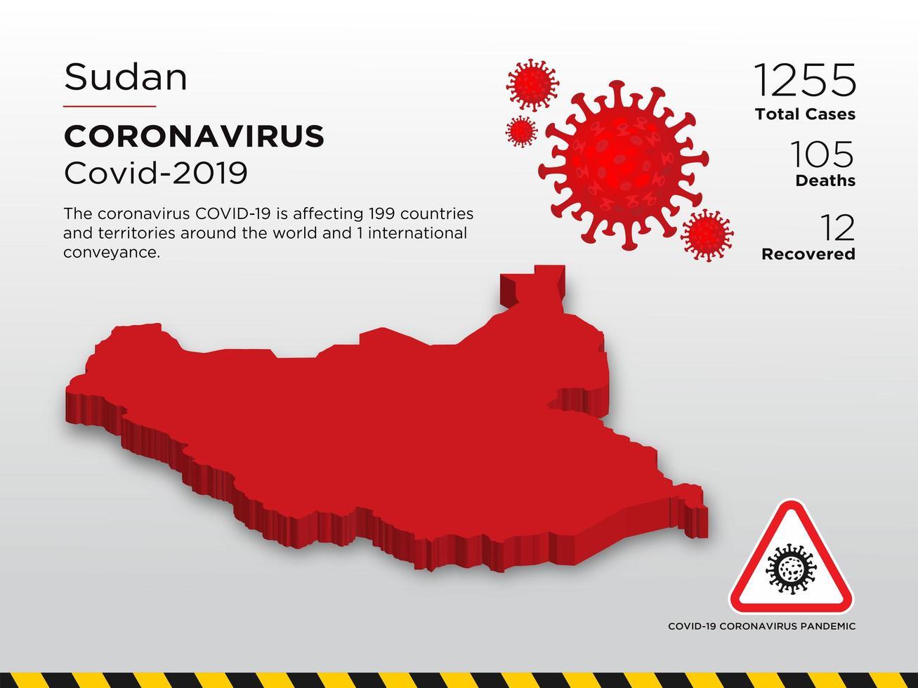 mappa del paese colpita del sudan del coronavirus vettore
