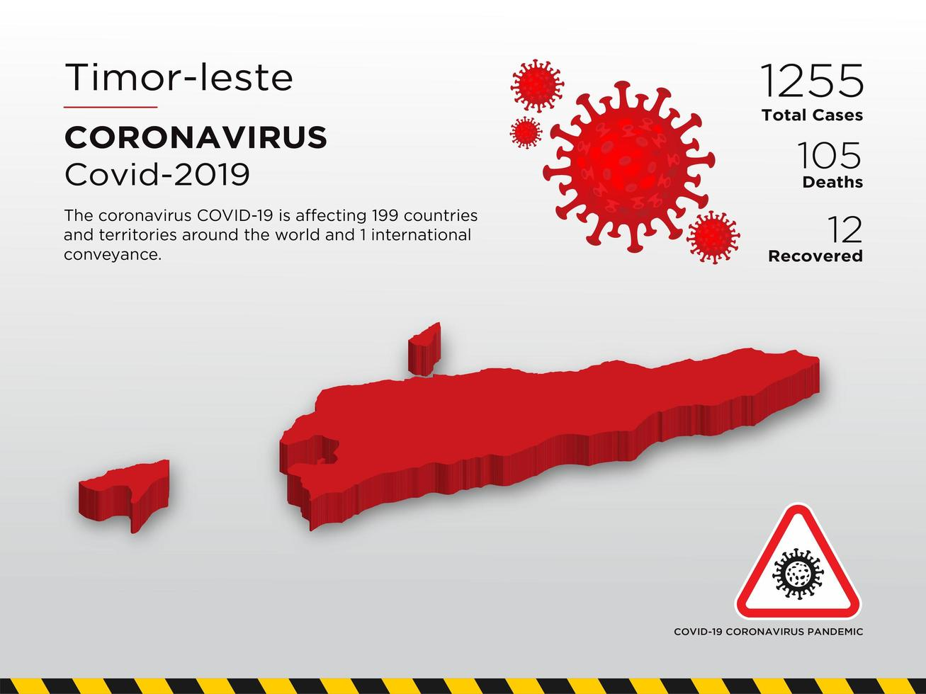 Timor-Leste Affected Country Map of Coronavirus vector