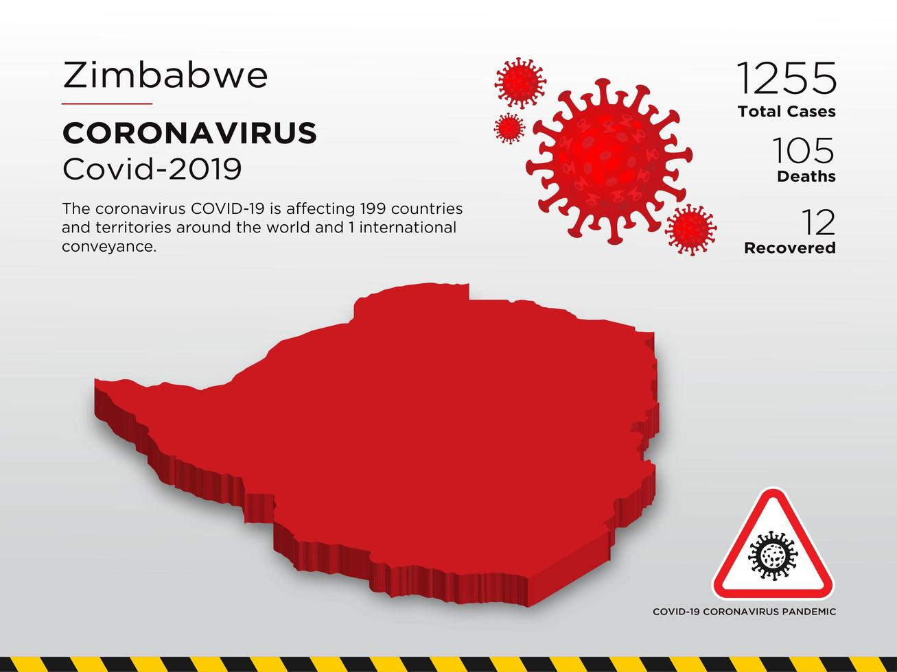Zimbabwe Affected Country Map of Coronavirus vector