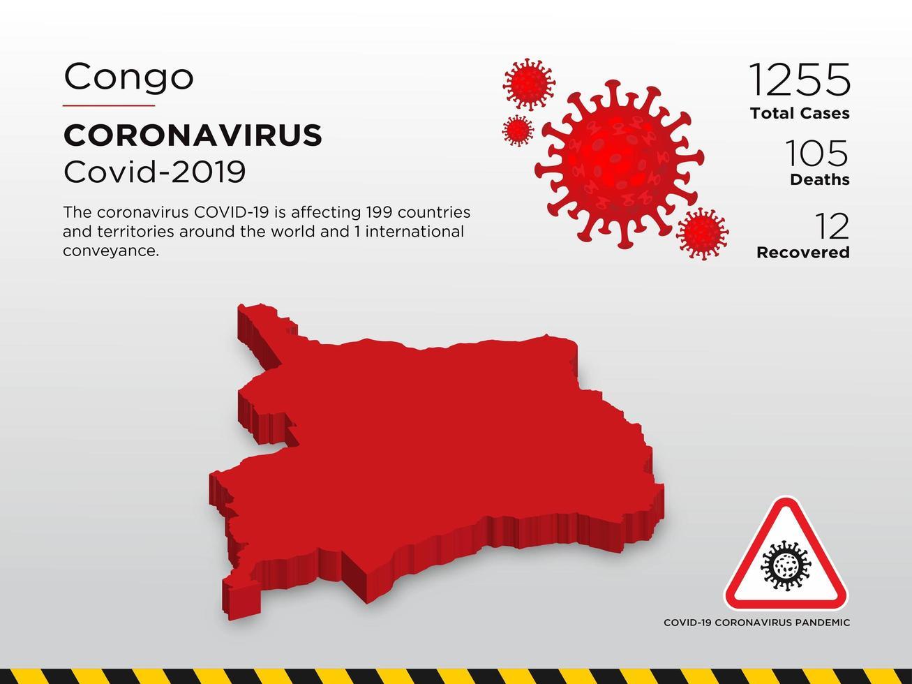 Congo Republic Affected Country Map of Coronavirus vector
