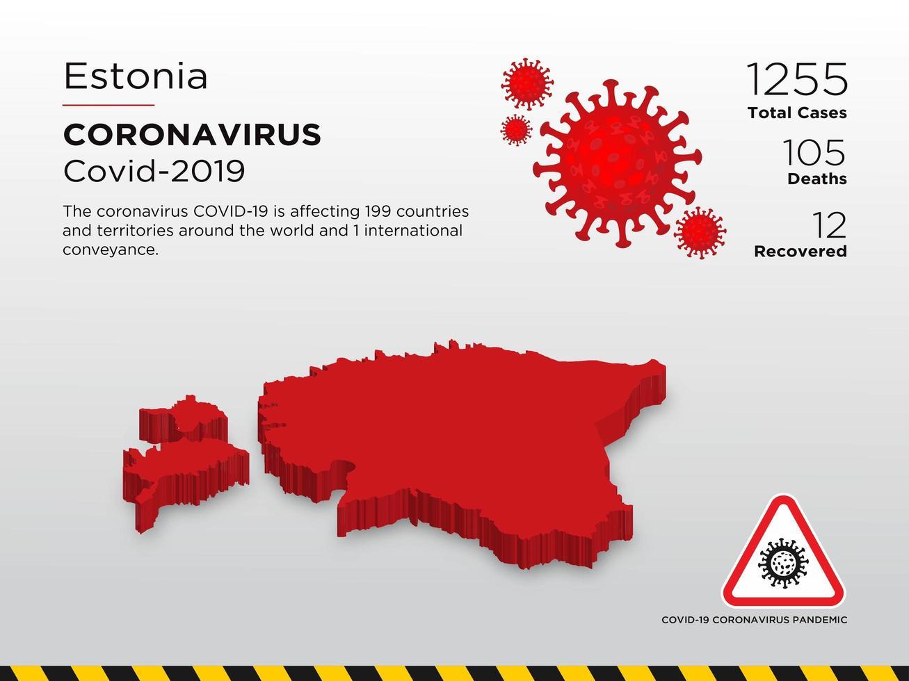 Estonia Affected Country Map of Coronavirus Spread  vector