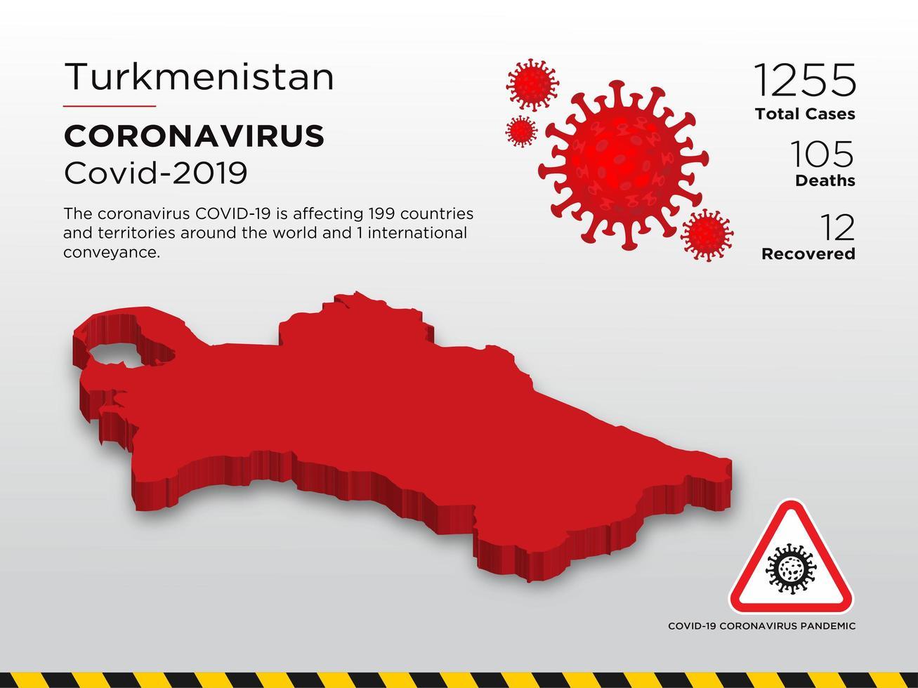Turkmenistan Affected Country Map of Coronavirus vector