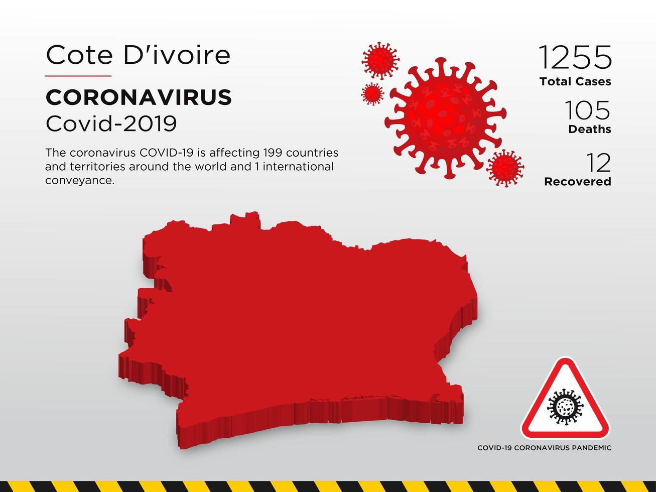 Cote d'Ivoire Affected Country Map of Coronavirus vector