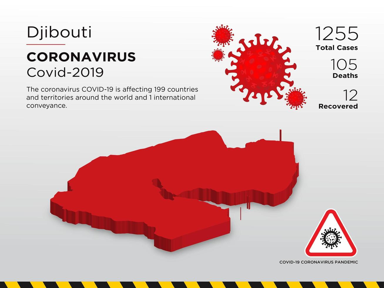 Djibouti Affected Country Map of Coronavirus vector