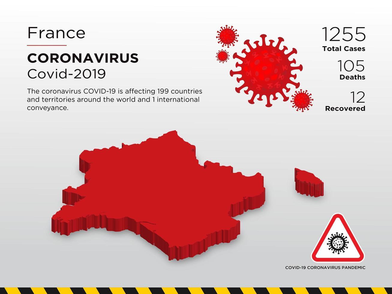 la france pays touché carte du coronavirus vecteur
