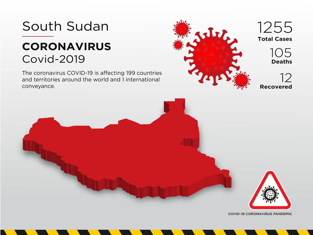 South Sudan Affected Country Map of Coronavirus vector
