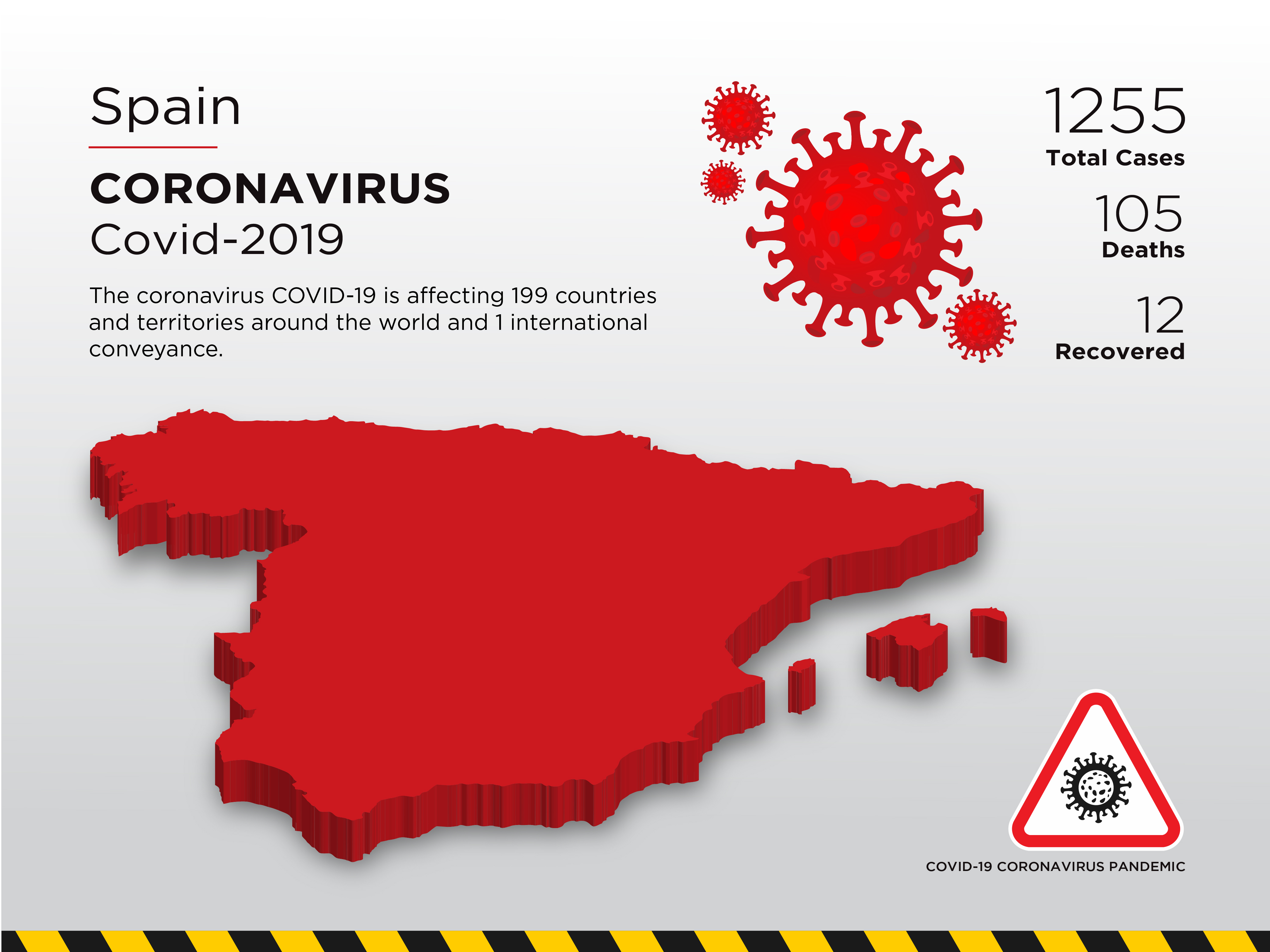 Spain Affected Country Map of Coronavirus - Download Free ...