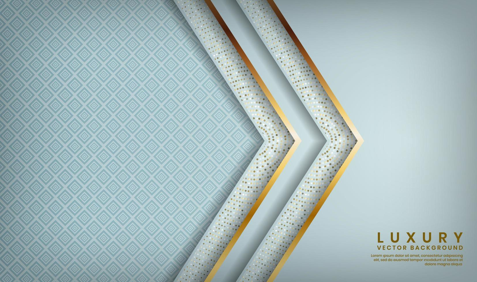 patrón azul con capas forradas de oro en forma de flecha vector