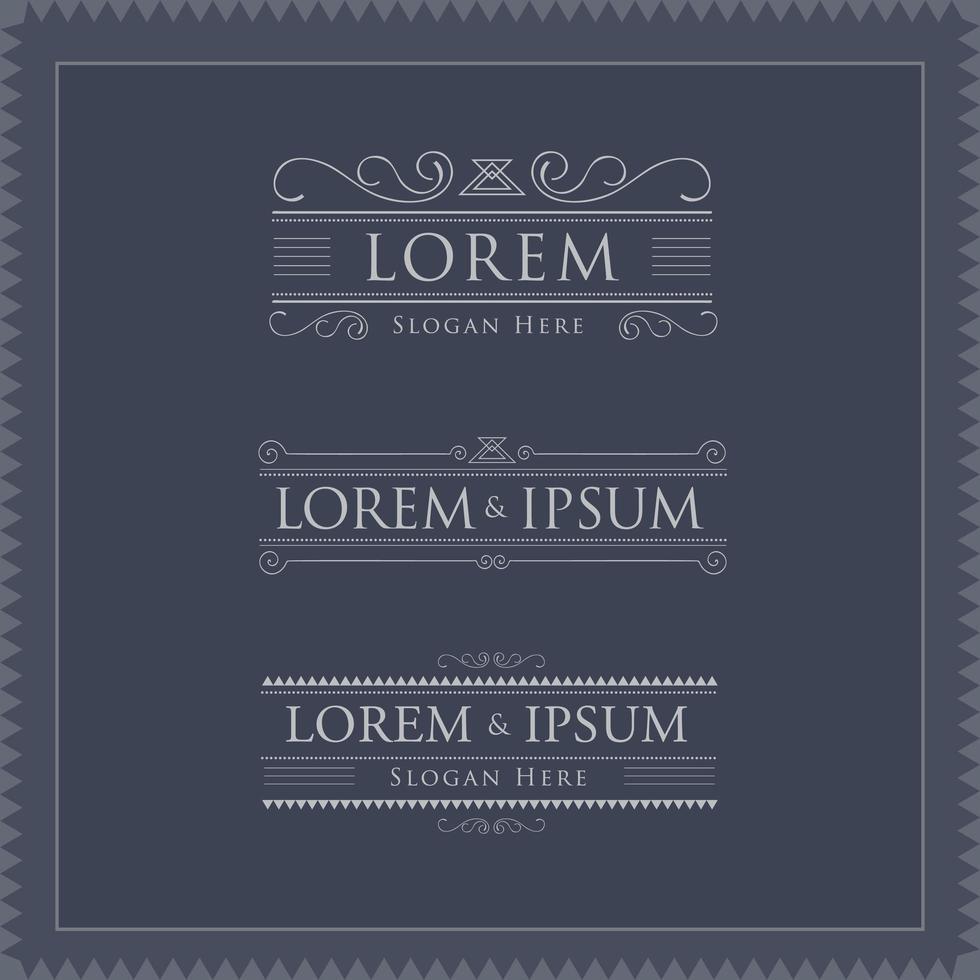 plantillas de logotipos de lujo con divisores y adornos vector