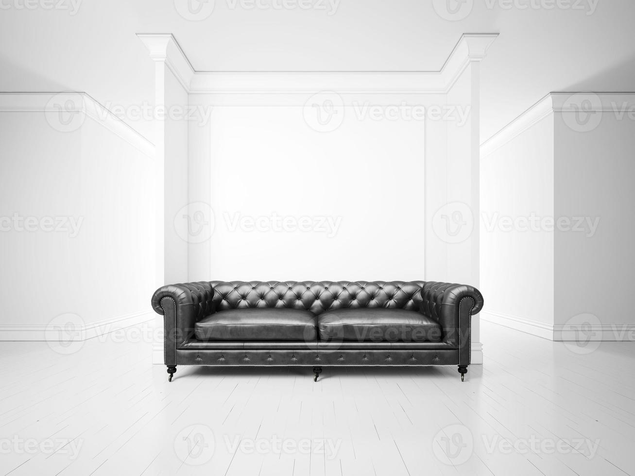 White interior with sofa and banner photo