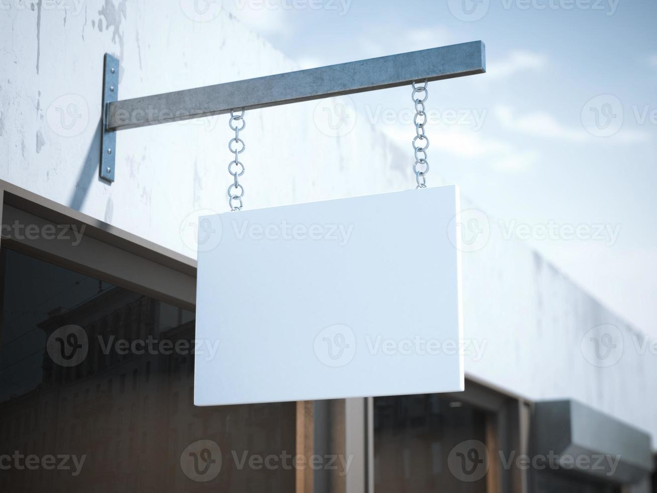 Blank square signboard. 3d rendering photo